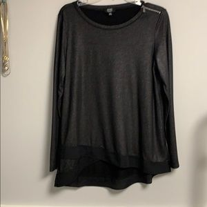 JNY Long sleeve metallic black tunic Shoulder zip